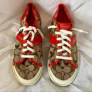 Coach Fillmore Red logo print sneakers size 10